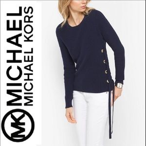 Michael kors lace up sweater navy blue